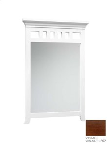 "Transitional 24"" x 35"" Solid Wood Framed Bathroom Mirror in Vintage Walnut"