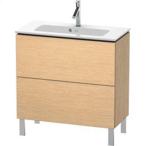 Vanity Unit Floorstanding Compact, Brushed Oak (real Wood Veneer)