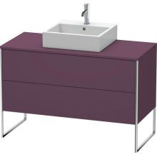 Vanity Unit For Console Floorstanding, Aubergine Satin Matt Lacquer