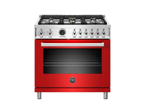 36 inch Dual Fuel Range, 6 Brass Burner, Electric Self-Clean Oven Red