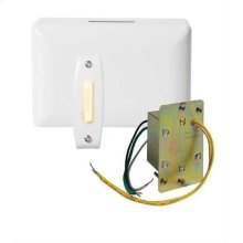 Builder Doorbell Kit with Junction Box Transformer and Lighted White Rectangular Pushbutton