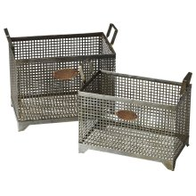 Sitting comfortably in the vintage industrial zone (note the riveting bronze tags), these metal storage baskets are as fashionable as they are functional.