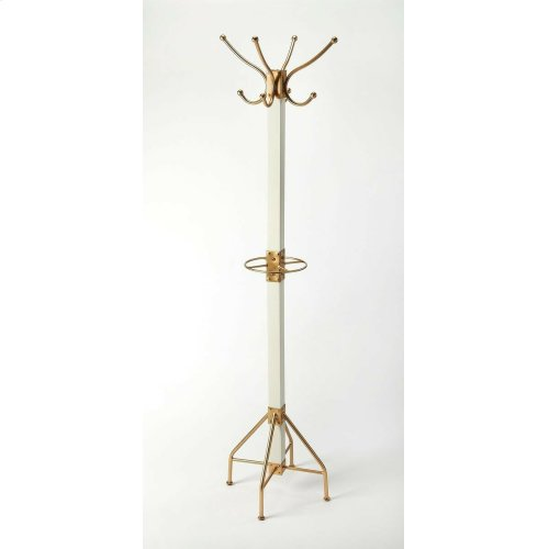 This rustic contemporary coat rack is an ideal addition in any entryway, den or office space to hang hats, jackets, umbrellas, or in a bathroom for towels and robes. It features 2 tiers of gold finished iron hooks and a matching base with a solid mango wo