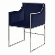 Navy Velvet Dining & Occasional Chair With Nickel Frame