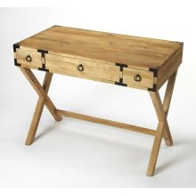 This timeless Campaign writing desk is an inspired addition in both traditional and contemporary spaces. Crafted from mango wood solids and wood products, it features an inviting natural mango wood finish accentuated with dark bronze pull rings on each of