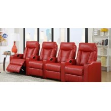 Camden Red Bonded Leather 4-Piece Reclining Theater Set
