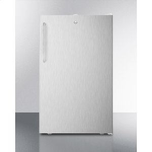 """SummitADA Compliant 20"""" Wide Freestanding Refrigerator-freezer With A Lock, Stainless Steel Door, Towel Bar Handle and White Cabinet"""