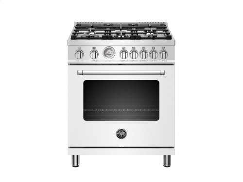 30 inch All Gas Range, 5 Burners Matt White