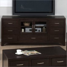 Media Unit W/ 7 Drawers and 2 Tempered Glass Doors (assembled)
