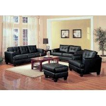 Samuel Transitional Black Three-piece Living Room Set