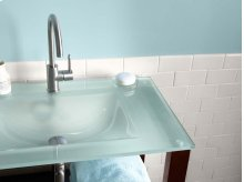 "24"" Tempered Glass Sinktop with Single Faucet Hole in Obscure Glass"
