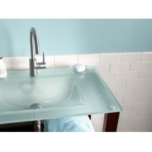 """24"""" Tempered Glass Sinktop with Single Faucet Hole in Obscure Glass"""