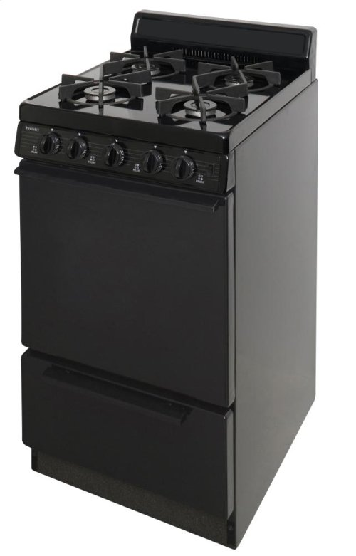 20 in. Freestanding Sealed Burner Gas Range in Black