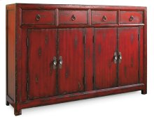 Living Room 58'' Red Asian Cabinet