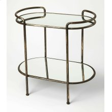 Serve hors d'oeuvres and cocktails at your next soiree with this essential cart, or set in the bathroom as an unexpected stage for toiletries or unique accents. Features mirrored shelves and a metal base it is a must have!