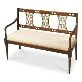 This stunning bench will be the focal point of virtually any space. Everything about it - from the aged two-tone Appaloosa finish, the hand carved back panel and clean lines - gives this bench an understated elegance all its own. Hand crafted from harwood