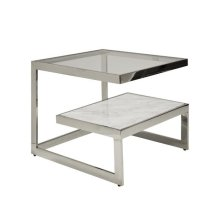 Iron Table With Glass and Marble Shelves In Nickel