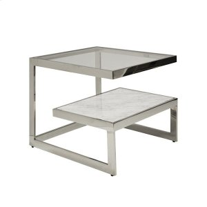 Worlds Away Iron Table With Glass And Marble Shelves In Nickel