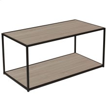 Sonoma Oak Wood Grain Finish Coffee Table with Black Metal Frame