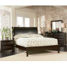 Phoenix Deep Cappuccino Queen Platform Bed With Faux Leather Panel Headboard Product Image