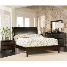 Phoenix Deep Cappuccino Queen Platform Bed With Faux Leather Panel Headboard