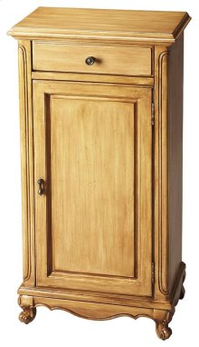 This classic Door Chest features convenient storage with cabinet and drawer. Crafted from rubber wood and pine solids and wood products, it is has a faded honey brown finish with antique brass-finished hardware.