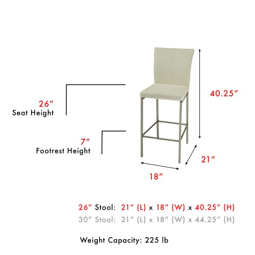 Cheyenne Counter Stool with Stainless Steel Finished Metal Frame, Stitching Detail and Glacier Faux Leather Upholstery, 26-Inch Seat Height