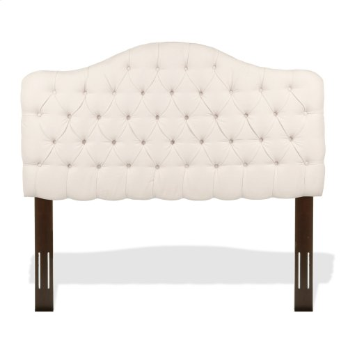 Martinique Upholstered Adjustable Headboard Panel with Solid Wood Frame and Button-Tufted Design, Ivory Finish, Full / Queen