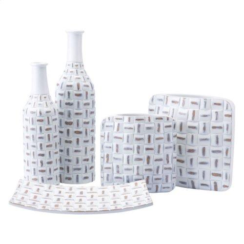 Mosaic Square Vase Lg Antique White