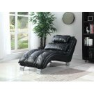 Contemporary Black Faux Leather Chaise Product Image