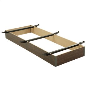 """Pedestal T-19 Bed Base with 7-1/2"""" Walnut Laminate Wood Frame and Center Cross Slat Support, Twin XL"""