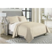 3pc Queen Bed Throw Set Pearl