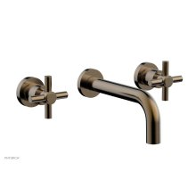Basic Wall Tub Set Tubular Cross Handles D1134 - Antique Brass