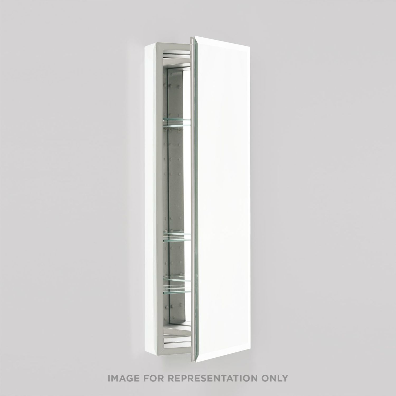 """Pl Series 15-1/4"""" X 30"""" X 4"""" Flat Top Cabinet With Bevel Edge Mirror, Non-handed, Black Interior and Non-electric"""