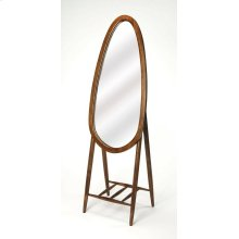 Round out your space in modern flair with this clean-lined standing mirror, showcasing a tear drop shape; crafted from Mango wood and MDF, its shape adds visual appeal to any space while its solid finish blends effortlessly into both monochromatic and vib