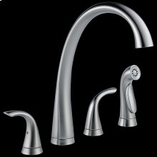 Arctic Stainless Two Handle Widespread Kitchen Faucet with Spray