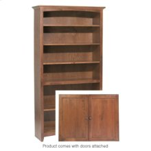 """GAC 72""""H x 36""""W McKenzie Alder Bookcase w/doors"""