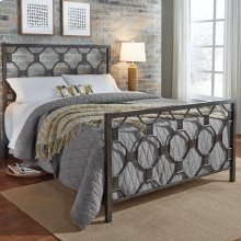 Baxter Complete Metal Bed with Geometric Octagonal Design, Heritage Silver Finish, Queen
