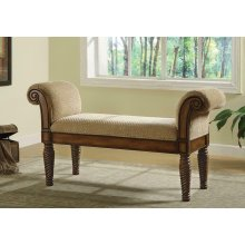 Transitional Brown Upholstered Bench