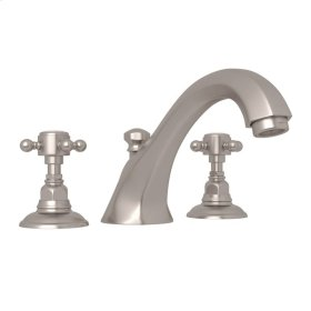 Satin Nickel Hex 3-Hole Deck Mount Spout Tub Filler with Cross Handle