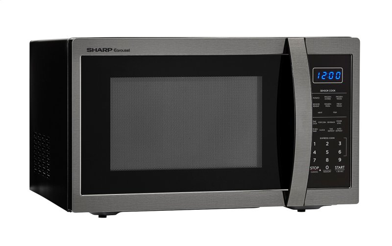 1 4 Cu Ft 1100w Sharp Black Stainless Steel Countertop Microwave