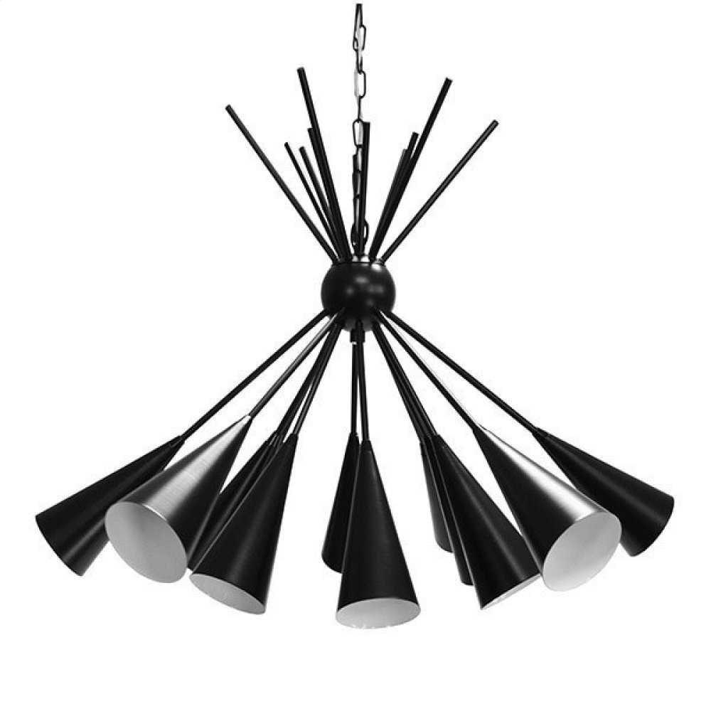 Twelve Light Cluster Chandelier In Matte Black Powder Coat