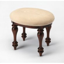 Creamy cotton in hob nail pattern crowns the skilled craftsmanship of this stunning Plantation Cherry finished vanity stool. Hand-turned legs and trim apron are made of rubberwood hardwood solids. It gives an Old World feel to fit your traditional or ecle