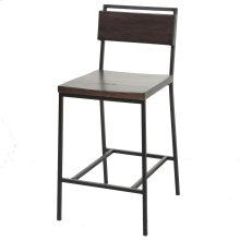 Olympia Bar Stool with Black Matte Finished Metal Frame, Footrest and Black Cherry Colored Wood, 30-Inch Seat Height