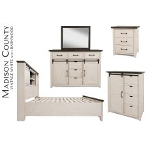 Madison County 4 PC King Barn Door Bedroom: Bed, Dresser, Mirror, Nightstand - Vintage White