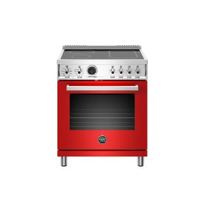 Bertazzoni30 Inch Induction Range, 4 Heating Zones, Electric Self-Clean Oven Rosso