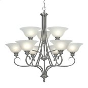 Lancaster 2 Tier - 9 Light Chandelier in Pewter with Marbled Glass