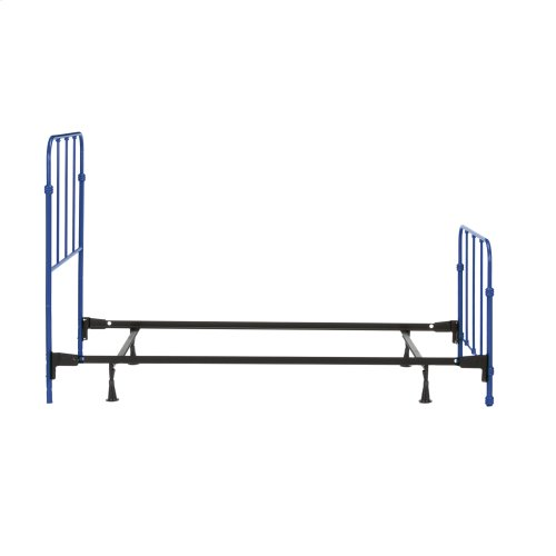 Nolan Fashion Kids Complete Metal Bed and Steel Support Frame with Fun Versatile Design, Cobalt Blue Finish, Full