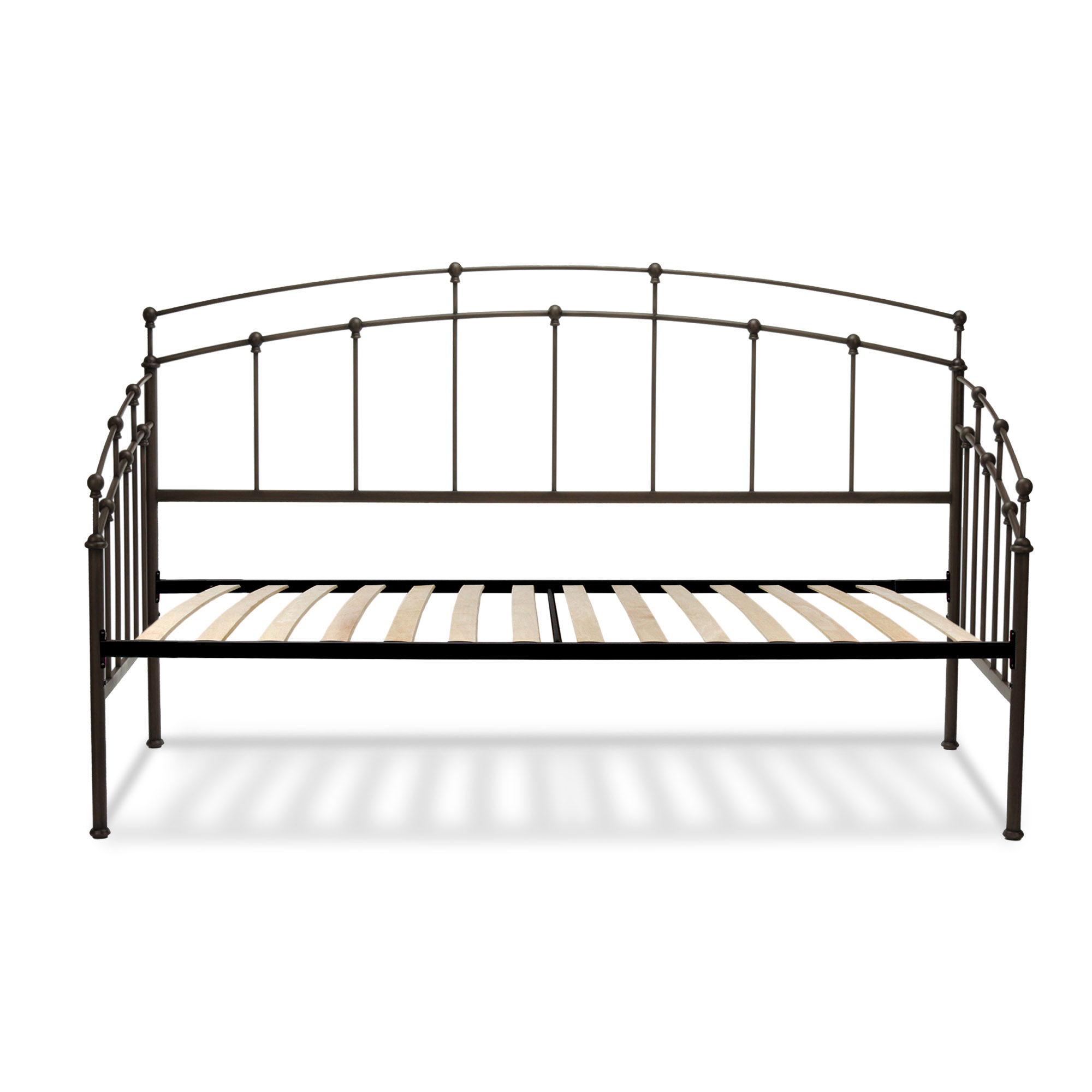Fenton Complete Metal Daybed with Euro Top Spring Support Frame and Gentle Curves, Black Walnut Finish, Twin