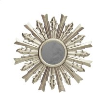 Handcarved Starburst Mirror In Silver Leaf. Center Is Antique Mirror.
